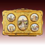 Antique French Souvenir Coin Purse, 5 Eglomise Views of Paris c. 1850-70