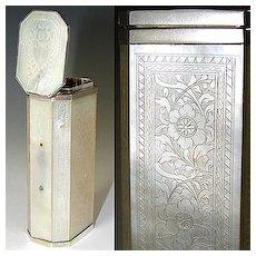 Antique Georgian Era Incised Mother of Pearl Etui, Perfume Case