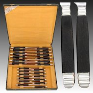 Fantastic Vintage French 24pc Sterling Silver & Ebony Handled Table Knife Set, Stainless Blades
