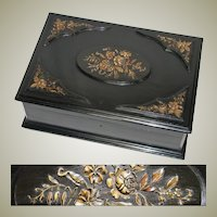 "Antique Victorian Era 16"" Ebony Cashmere Chest or Dressing Box, Carved Accents"