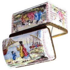 Antique Kiln-fired Enamel Box, Large and Superb. Sea & Ships 1700s Themes