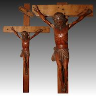 "Antique Carved Wood Religious Sculpture, Medieval Style Crucified Christ on 17"" Cross, Crucifix"