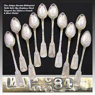 Antique Russian Hallmarked Silver 10pc Niello Style Demitasse Teaspoon Set, Gold & Silver