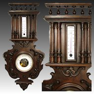 """Fine Antique Victorian Era French Black Forest Style 26.5"""" Wall Barometer"""