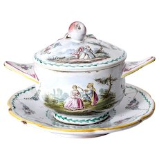 """""""Lille 1765"""" Antique French Faience, A Bouillon Soup Bowl, Plate, Cover"""