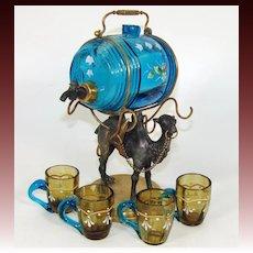 Antique French Napoleon III Liqueur Decanter, Enameled Liquor Barrel & Cups: Camel Figural Stand