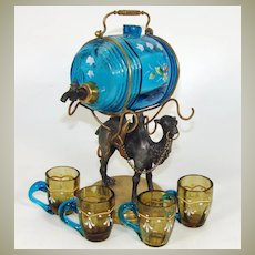 Antique French Napoleon III Liqueur Decanter, Enameled Liquor Barrel & Cups: Camel Figural Stand