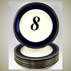 """Antique Set of 8 Minton Luncheon or Salad Plates for Theodore Starr, NY, 9"""" Cobalt Blue & Gold Elegance"""