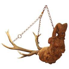 Rare Antique Black Forest Carved Wood & Antlers Light Fixture, Chandelier, Candelabra for Ceiling