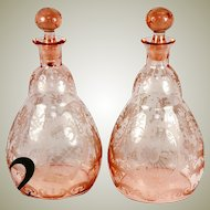 Antique Pair of Wheel Engraved Pink Glass Decanters, Carafe, Carafon - Moser - Bohemian