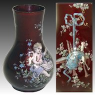 Wonderful Little Antique French Vase, Kiln-fired Enamel by Thiebaut Freres, PARIS - Putti or Cupid