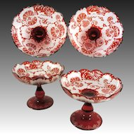 Antique Pair of 2 Matching Bohemian Red Flashing Engraved Compote, Raised Stemware Plateau or Tray