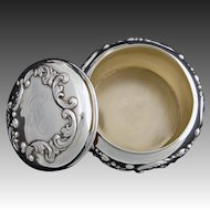 "Antique American Sterling Silver 4.5"" Powder Jar by George C. Shreve, San Francisco, CA"