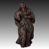"""C.1600s to 1700s Antique Hand Carved Madonna, Female Figure 7"""" Tall, Oak"""
