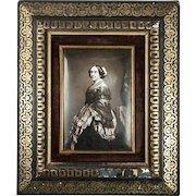 Antique French Photo Technique, Enamel on Convex Plaque, 1/2 Plate Daguerreotype-Like Enamel in Frame