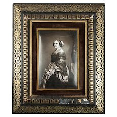 Antique French Photo Technique, Enamel on Convex Plaque, 1/2 Plate Daguerreotype-Like Enamel in Frame