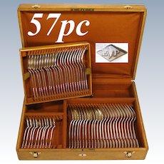 57pc Antique French PUIFORCAT Sterling Silver Flatware Set, 'Suffren' Pattern, Oak Chest