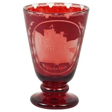 Bohemian Moser Egermann Art Glass Wine Goblet, Rheinstein Castle Ruby Wash, c. 1880-1900