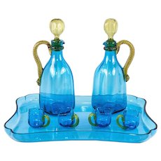 Superb Antique French Napoleon III LeGras Blown Glass Liqueur Service, 9 Pc, Incl Tray, 2 Decanters