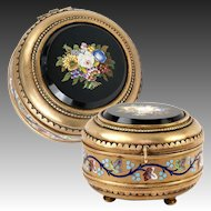 Fine Antique Italian Micromosaic Powder Box, Enamel, Grand Tour c.1840-60s Micro Mosaic Plaque