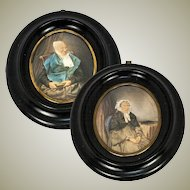 PAIR (2) Antique French Portrait Miniatures, Drawing and Watercolor on Card, in Frame - Grandmothers