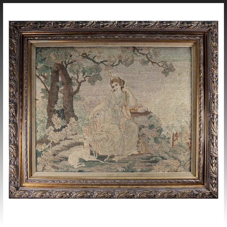 Fine Antique Petitpoint Needlepoint Tapestry in Frame, : Antiques ...