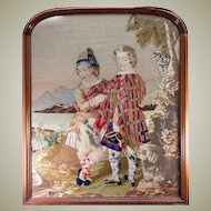 HUGE Antique Victorian Era Needlepoint Tapestry in fine Walnut Frame, Scottish Kilts, 2 Boys & a Dog