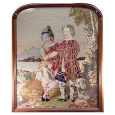 HUGE Antique Victorian Era Needlepoint Tapestry in fine Walnut Frame, Scottish Kilts, 2 Boys & a Dog