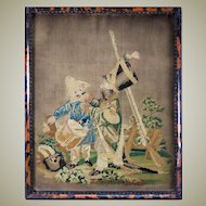 Antique Petitpoint Needlepoint Tapestry Sampler, Boys Playing Soldier, Drum and Rifle, in RARE Frame