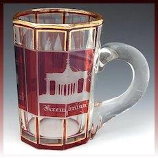"Antique Bohemian Ruby Glass Spa Souvenir Mug or Stein, ""Andenken von Marienbad"""