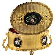 Fine Antique Pietra Dura Jewelry Box, Casket, 5 Perfect Mosaic Plaques, Italy