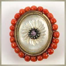 Antique French Palais Royal Empire Era Buckle Half, Pendant, Red Coral & Pearl