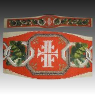 Victorian Beaded Needlepoint Panel, 1850s Fraternal or Religious Sash