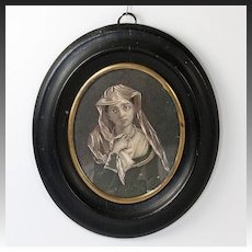 Antique French Portrait Miniature, Drawing & Gouache on Card, In Frame