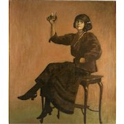 Splendid Antique French Oil Painting, c.1890-1910 Cabaret Bar Girl, Interior