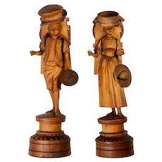 Pair (2) Antique Hand Carved Wood Figural Spools, Black Forest Man and Woman