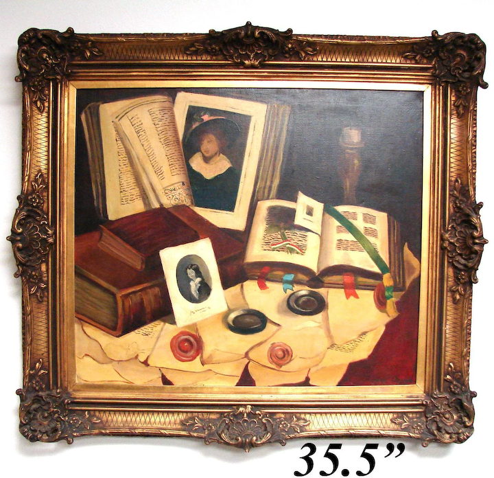 Vintage Oil Painting On Canvas Still Life Desk Papers By Romek Arpad 1883 1960 Listed Artist In Antique Frame