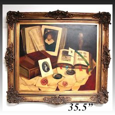 Vintage Oil Painting on Canvas, Still Life Desk & Papers by Romek ARPAD (1883-1960), Listed artist, in Antique Frame