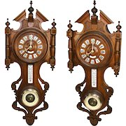 "LG Antique French Black Forest Style Carved Wood 29"" Wall Clock, Barometer & Thermometer"