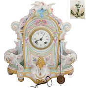 "Rare Antique French VION & BAURY 14"" Porcelain Mantel Clock, Japy Freres Movement"