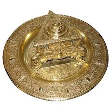 "Ornate Antique Victorian Era Gilt Bronze Inkwell, Figural Urn Style Well on 9"" Base"