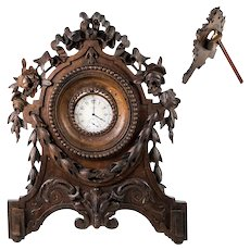 "Superb Antique Hand Carved Wood French or Black Forest Pocket Watch Stand, 9"" Tall"