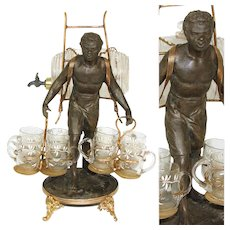 RARE Antique French Blackamoor Liqueur Cabaret, Caddy or Tantalus, Napoleon III