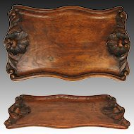 "Wonderful Antique Victorian Era Hand Carved Oak Serving Tray, Seashells, 17.5"" long"