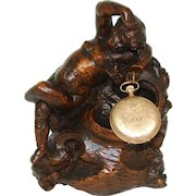 "Fab Antique French Carved Solid Wood Cherub or Putti Figure, 6 7/8"" Pocket Watch or Pendant Display"