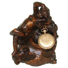 """Fab Antique French Carved Solid Wood Cherub or Putti Figure, 6 7/8"""" Pocket Watch or Pendant Display"""