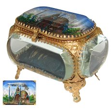 "Antique French Eglomise Paris Souvenir Casket, Box: ""Entree Principale Exposition 1900"""