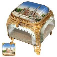 """Antique French Eglomise Paris Souvenir Casket, Box: """"Kairo"""" (Rue du Caire), Paris 1889 World Exposition"""