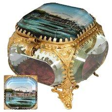 """Antique French Eglomise Paris Souvenir Casket, Box: """"Chateau de Fontainebleau, L'Etang des Carpes"""""""