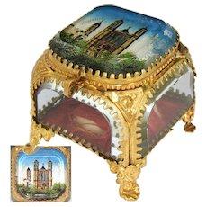 """Antique French Eglomise Paris Souvenir Casket, Box: """"Souvenir De Notre Dame De Fourviere"""""""